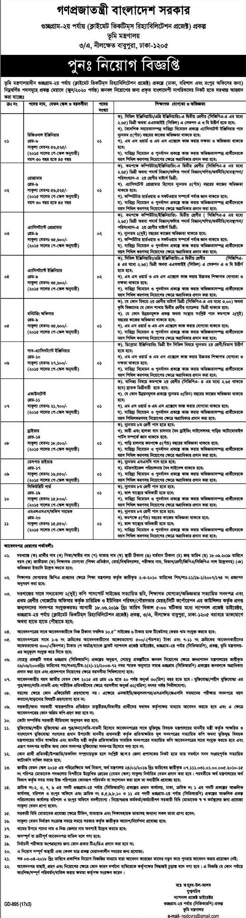 Land Ministry Job Circular 2019