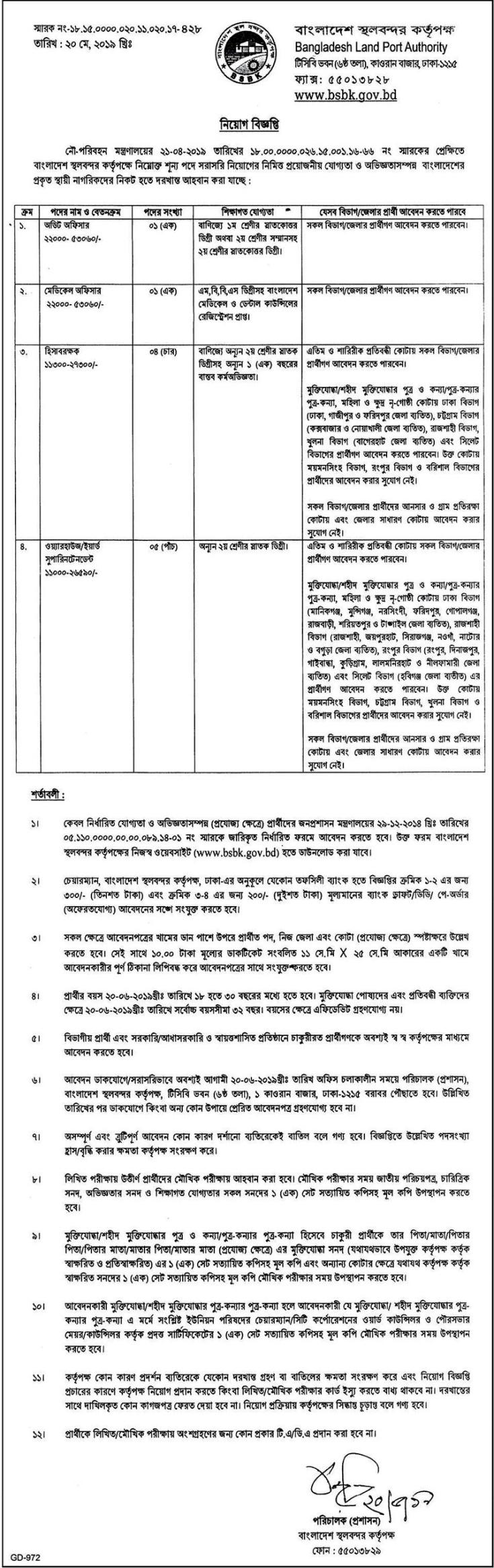Land Port Authority Job Circular 2019