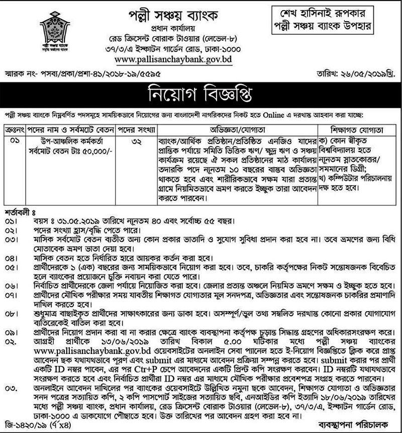 Palli Sanchay Bank Job Circular 2019