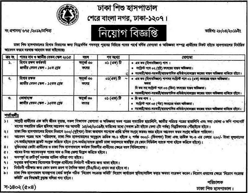 Dhaka Shishu Hospital Job 2019