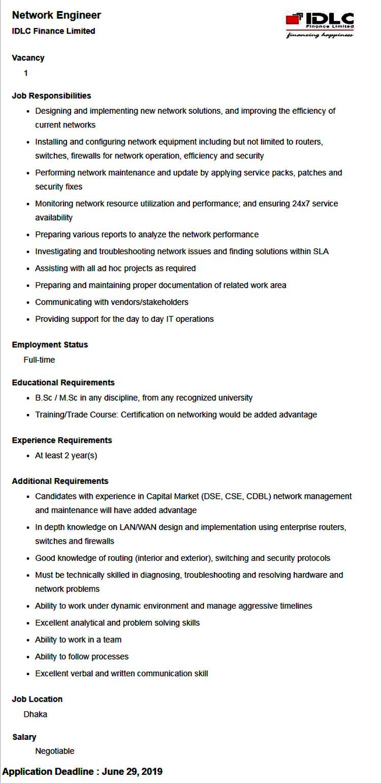 IDLC Limited Job Circular 2019