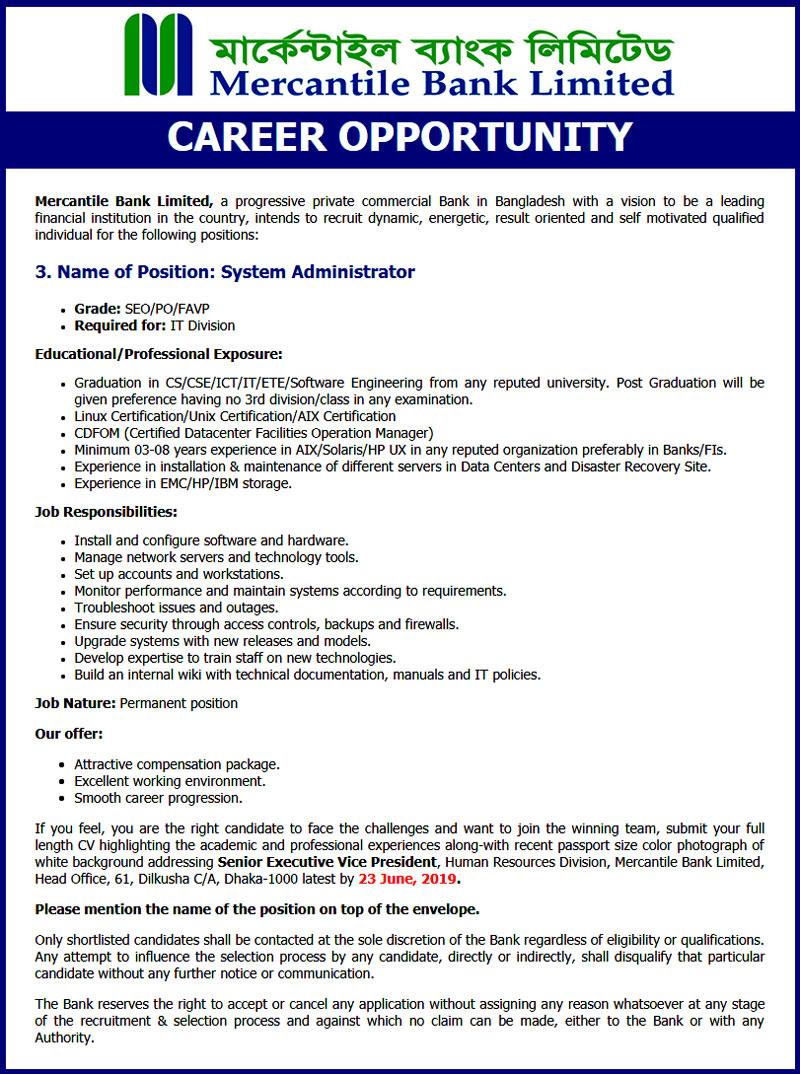 Mercantile Bank Job 2019