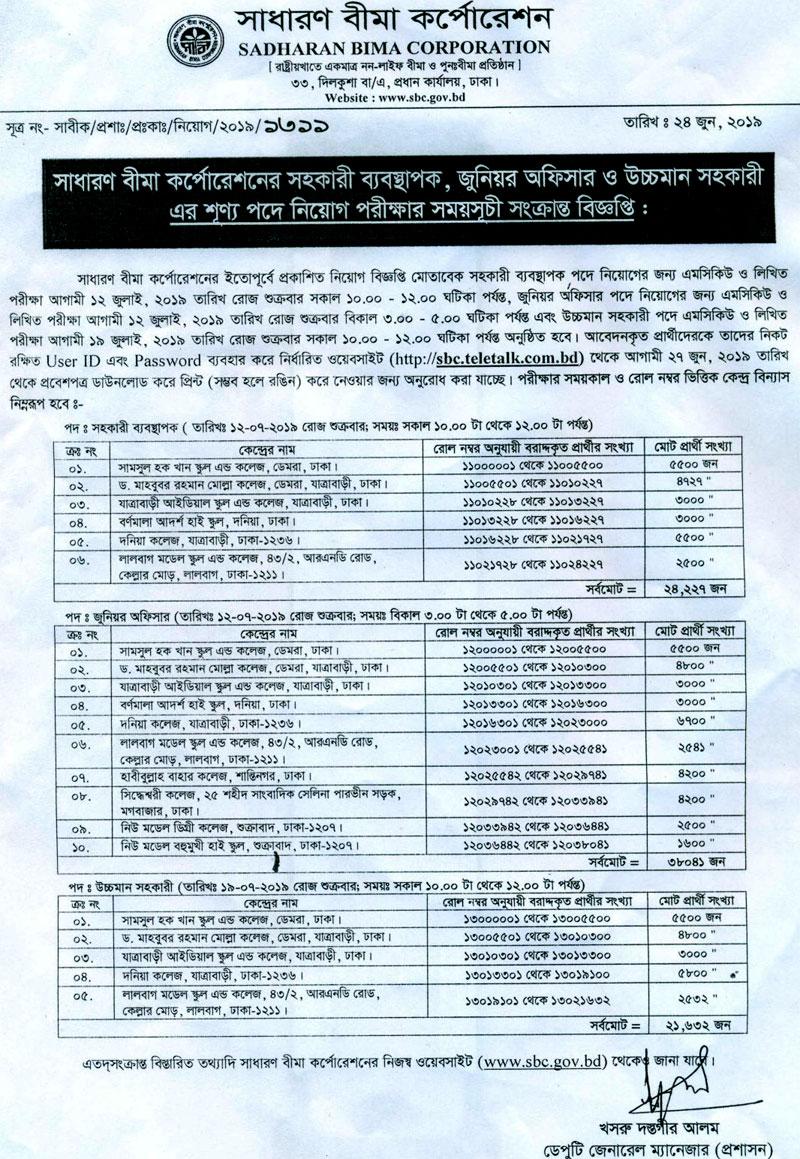 Sadharan Bima Corporation Admit Card Download 2019