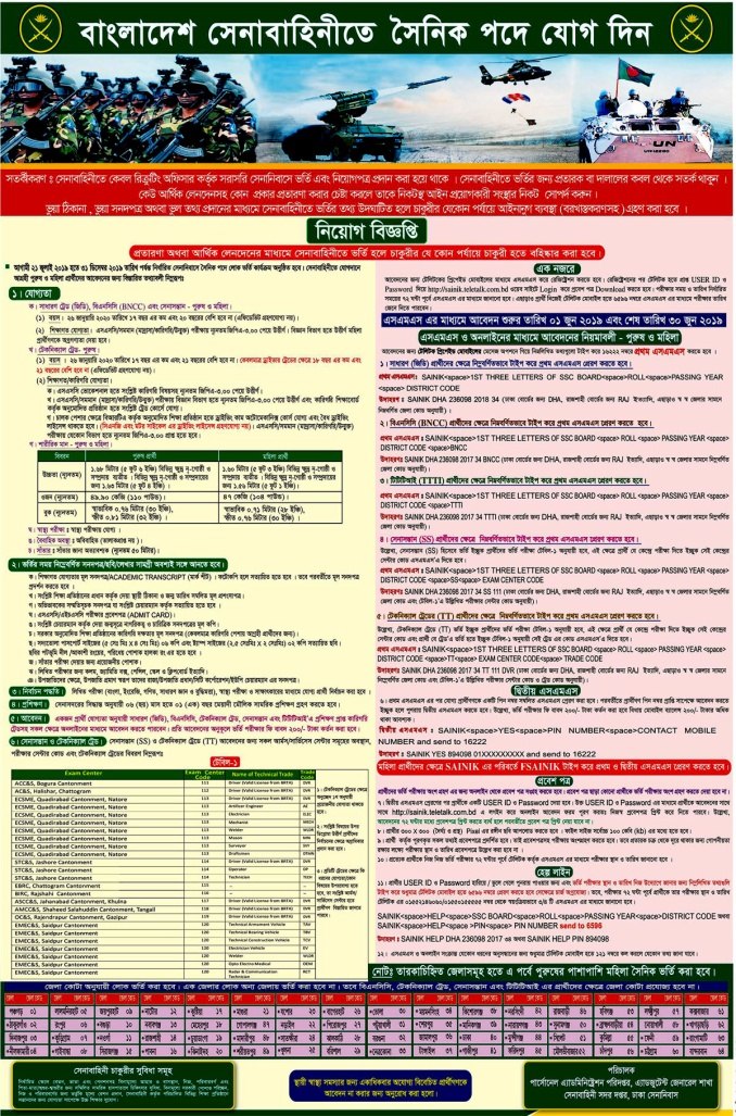 Bangladesh Army Civil Job Circular 2019