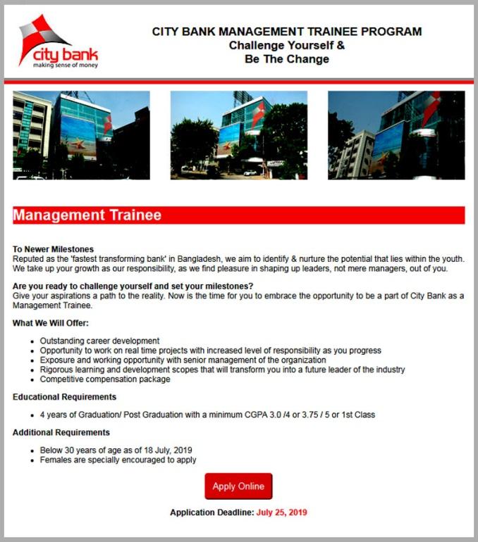 City Bank Limited Job Circular 2019