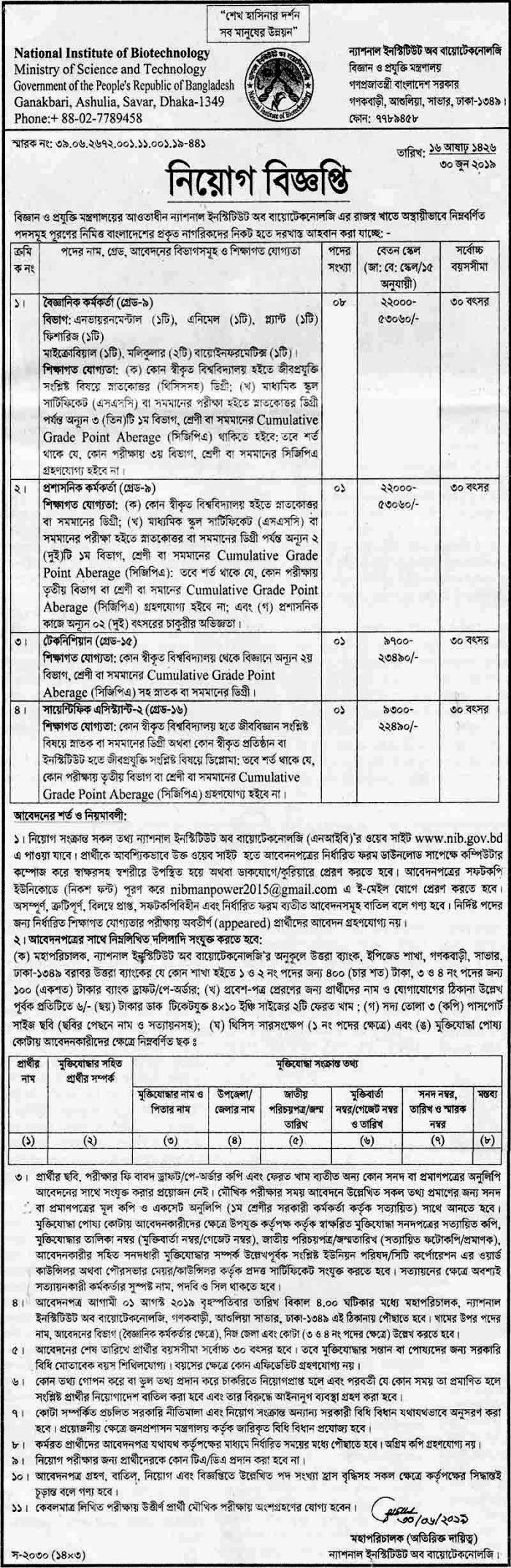 Science and Technology Ministry Job 2019
