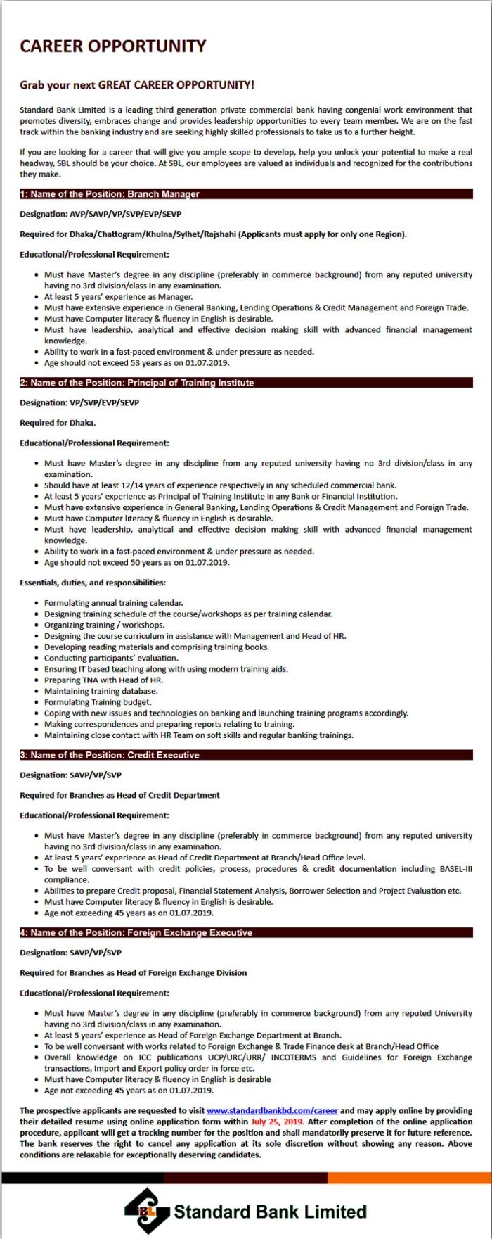 Standard Bank Job Circular 2019