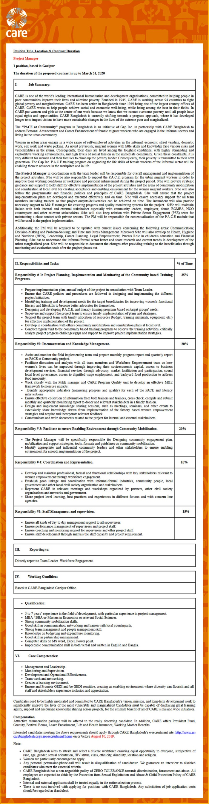 CARE Bangladesh NGO Job 2019