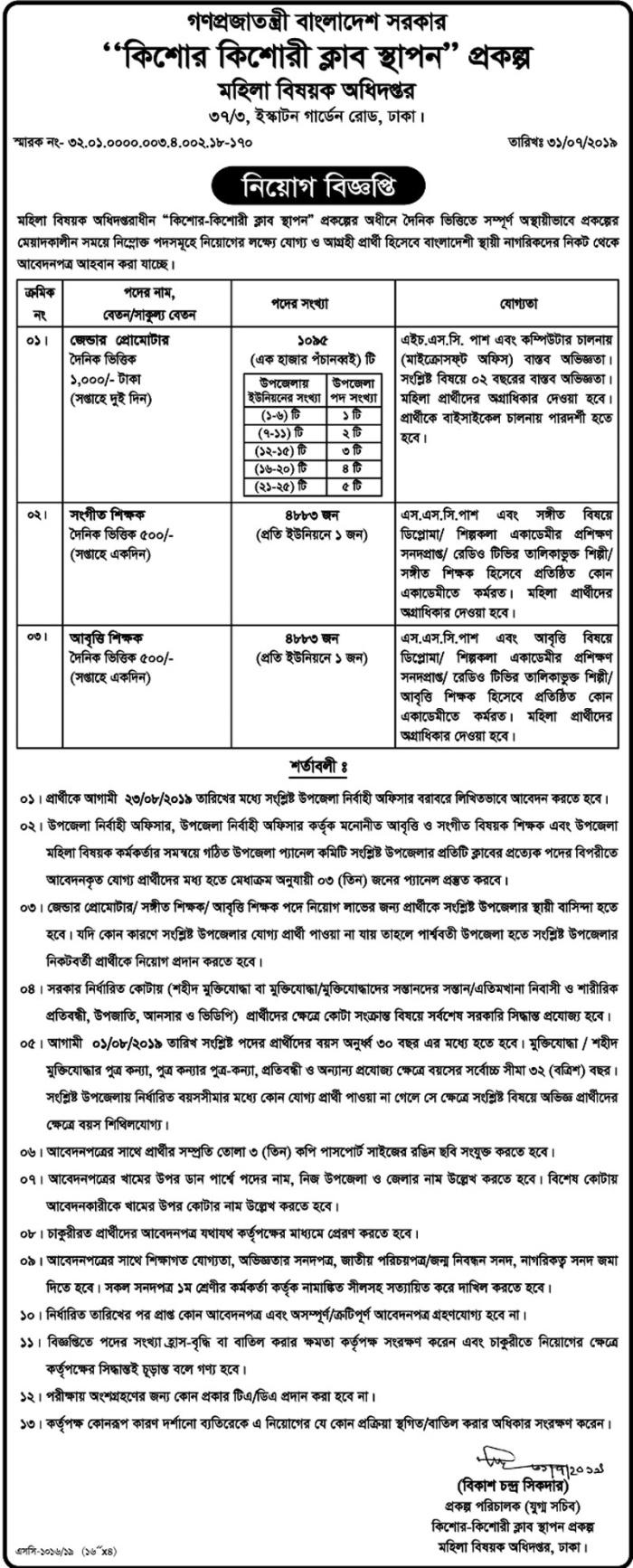 Women and Children Affairs Job 2019