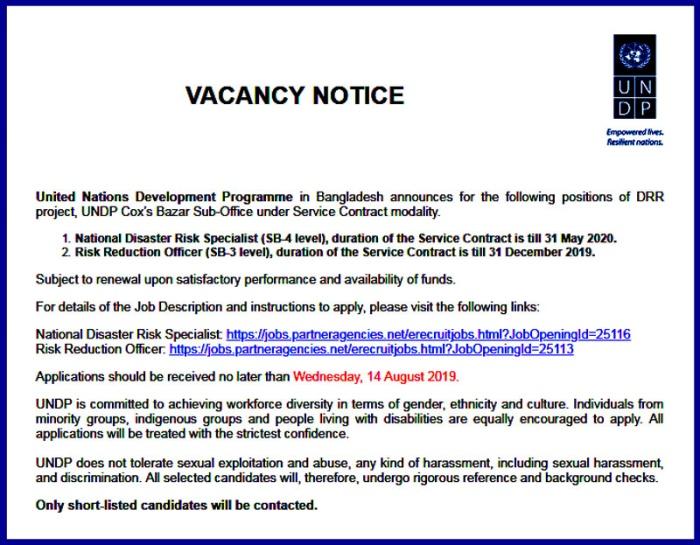 UNDP Bangladesh Job Circular 2019